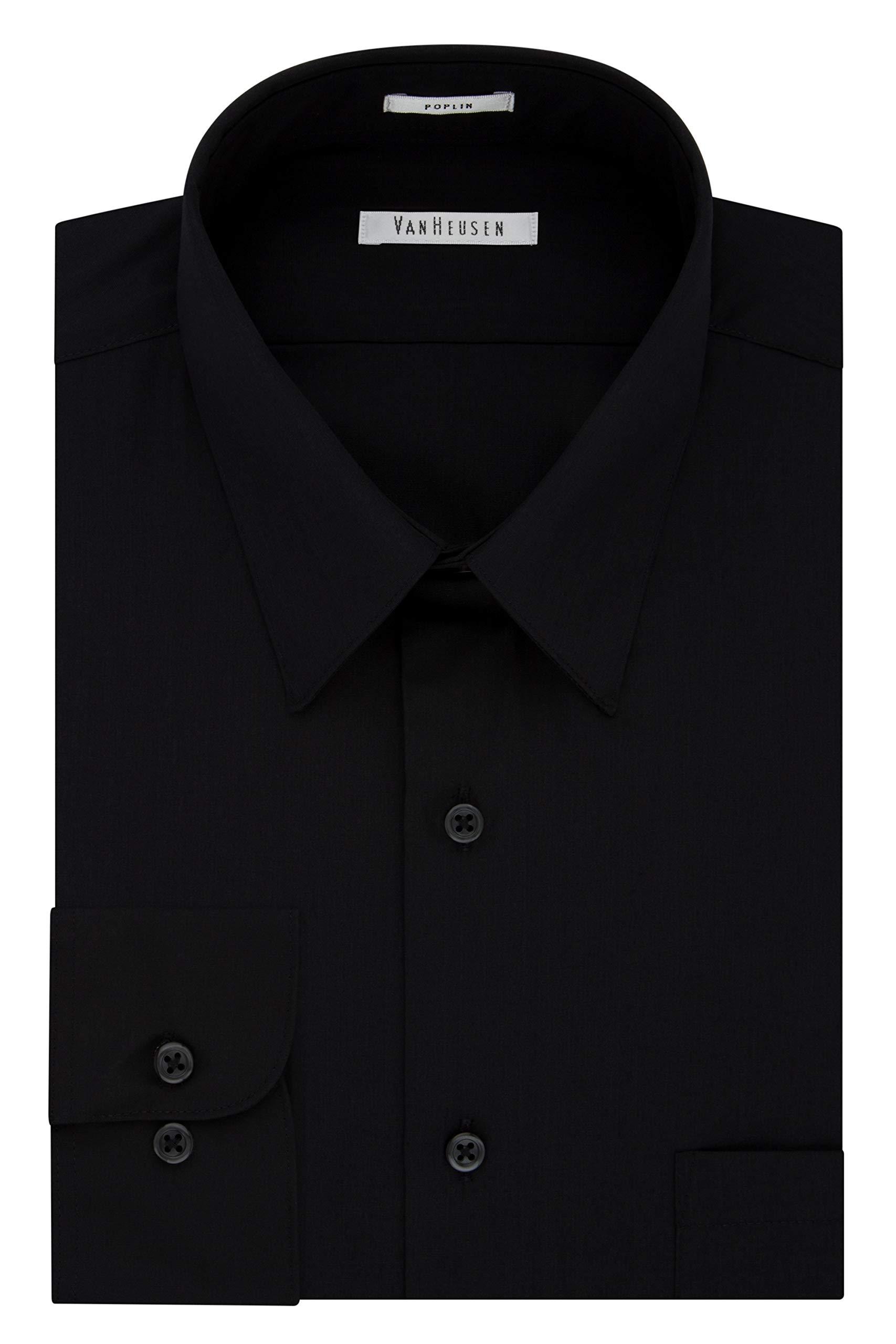 Van Heusen Men's Poplin Regular Fit Solid Point Collar Dress Shirt, Black, 17'' Neck 36''-37'' Sleeve
