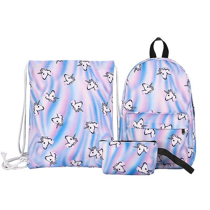Gracosy Mochila Infantil, Kit de 3 pcs mochila + bolsa a Cordons + Estuche, diseño unicornio gato Kawaii impémeable Super ligero 35L Backpack para ...