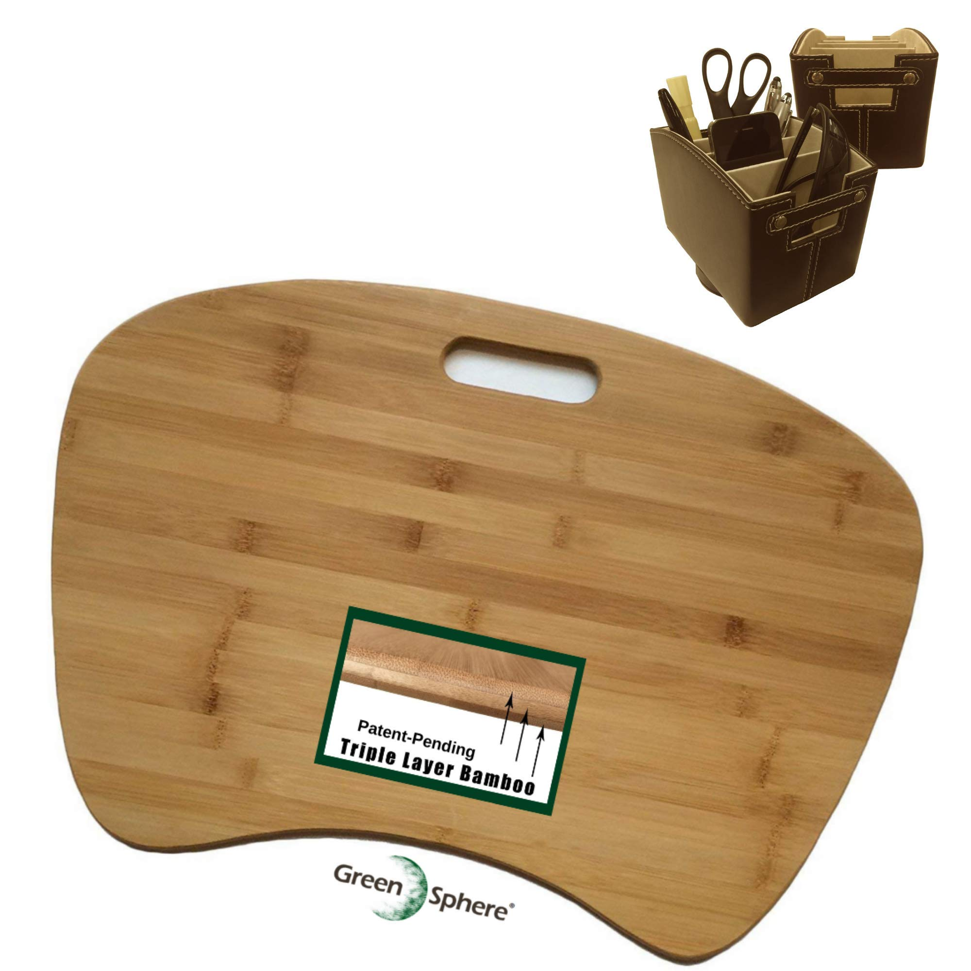 Green Sphere Bamboo Wood Lap Desk & Executive Desk Caddy | Lap Top Jumbo Size Workstation with Detachable Cushion