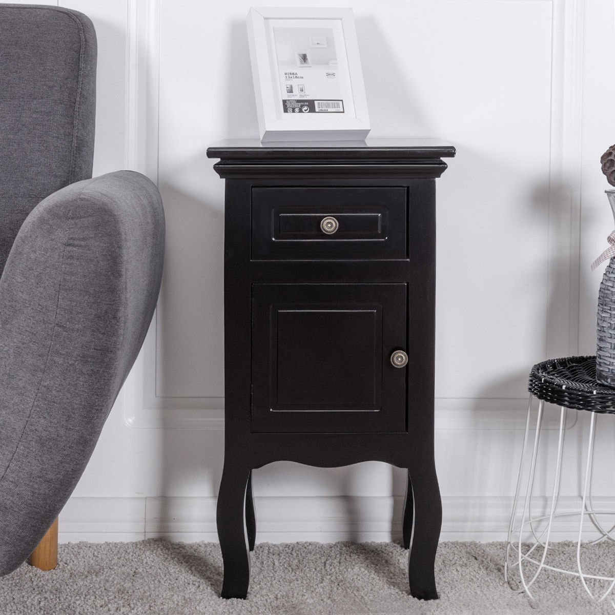Black Nightstand For Bedroom w/Storage Drawer and Cabinet, Wood End Accent Table by unbrand (Image #5)