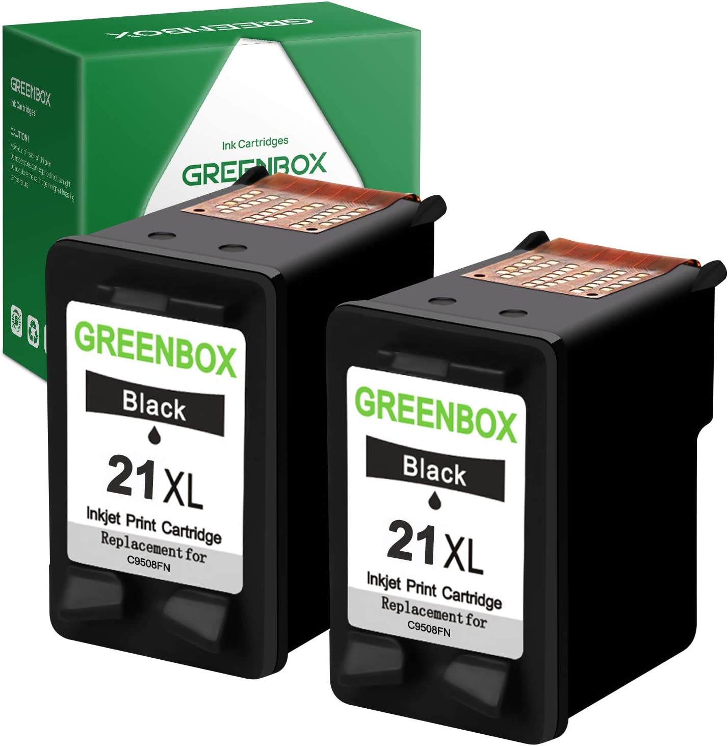 GREENBOX Remanufactured Ink Cartridge 21 Replacement for HP 21 21XL for HP Officejet 4315 J3680 Deskjet 3915 3930 3940 D1341 D1420 D1455 D1520 D1530 D1560 D2330 D2430 D2460 PSC 1410 Printer (2 Black)