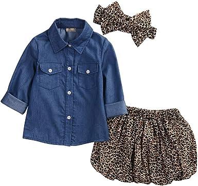 Niña Traje Camisa Falda Diadema 3 Piezas Conjunto de Bebé Recién Nacida Camiseta Denim para Chicas + Falda de Leopardo + Banda de Cabello con Bowknot