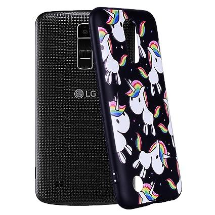 Yunbaozi Funda Compatible para LG K10 2017 Embossing Case Carcasa Suave Impresión 3D Caucho TPU Flexible Cáscara Delgado Ligero Alivio Negro Carcasa ...