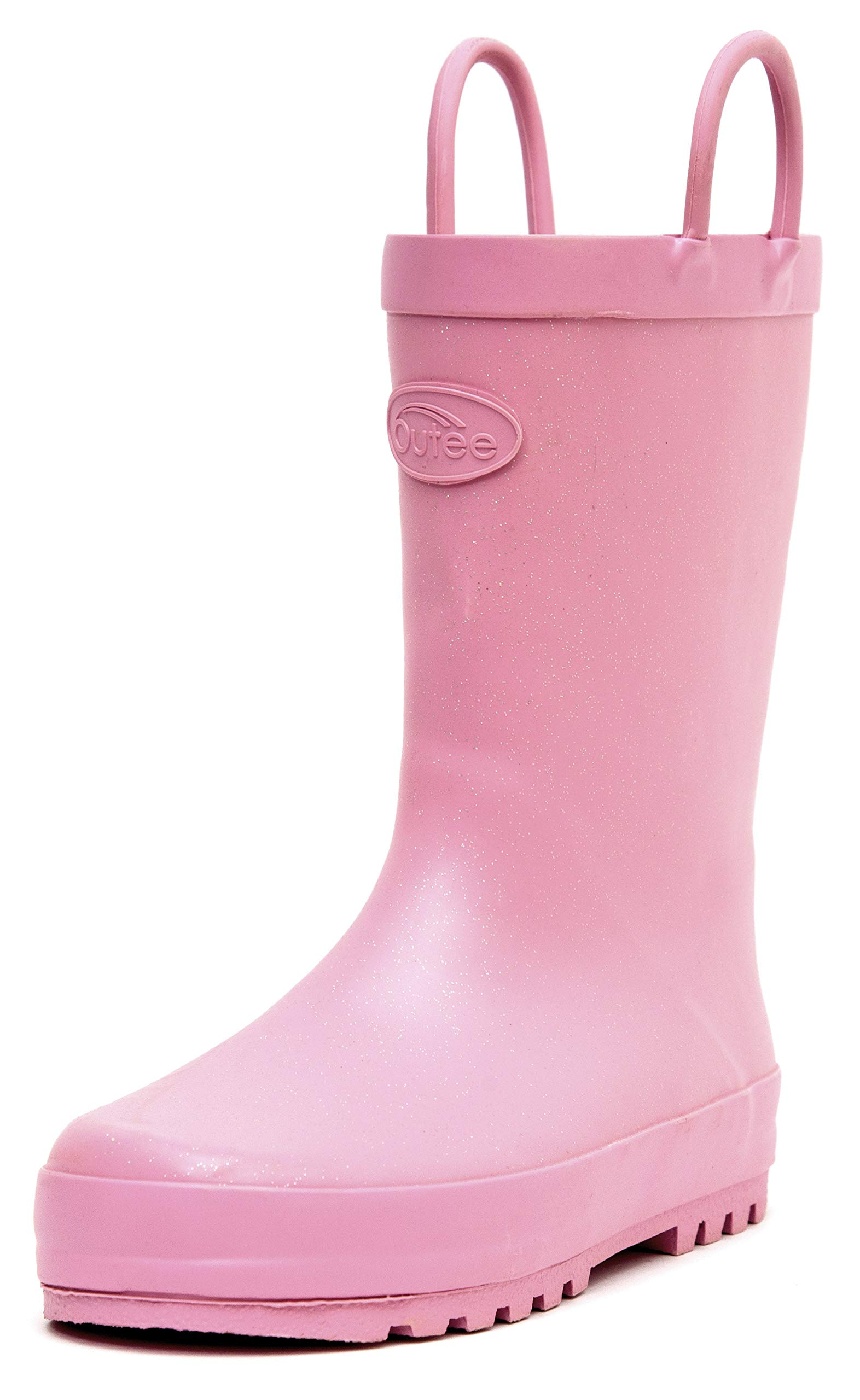 Outee Toddler Girls Kids Rain Boots Rubber Waterproof Shoes Glitter Cute Lovely Funny with Easy On Handles (Size 6,Pink)