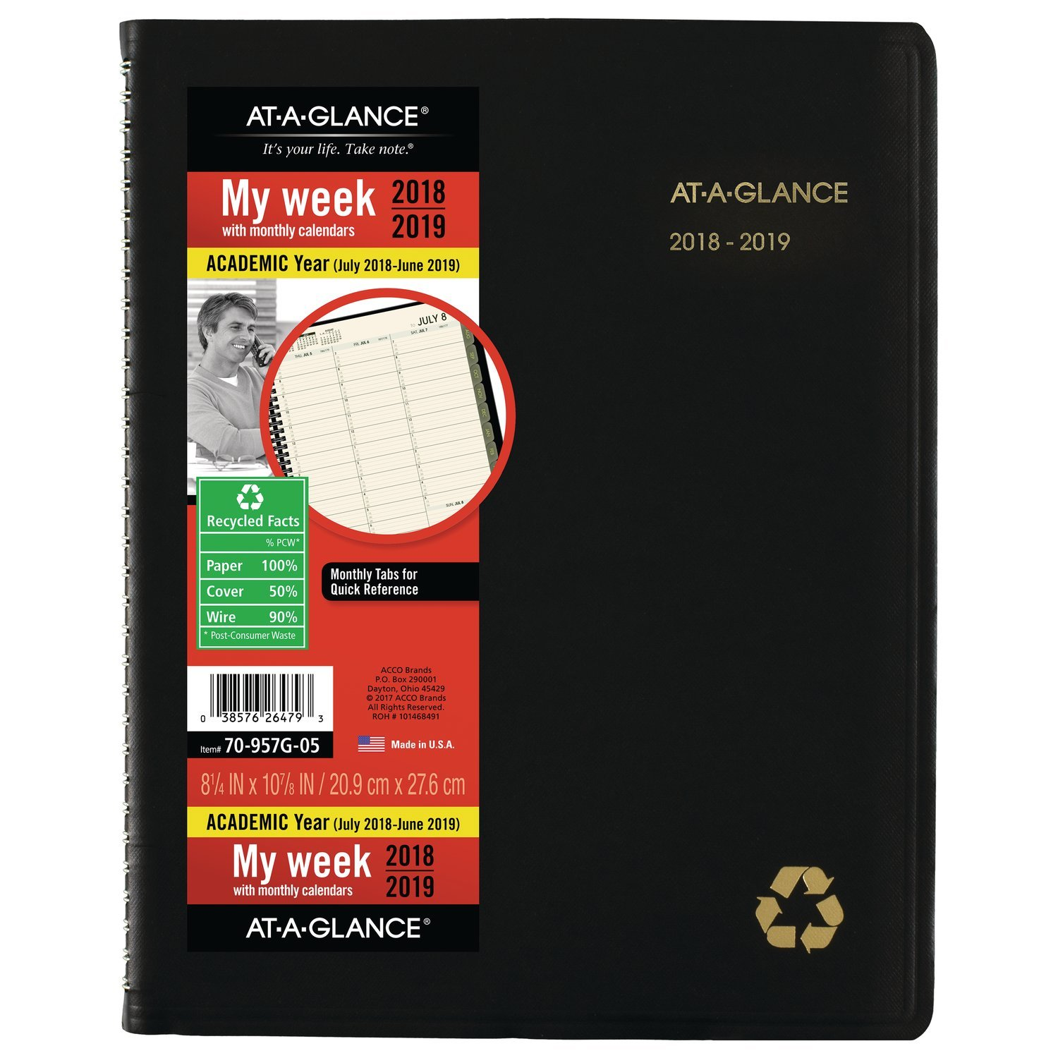 at-A-Glance 2018-2019 Academic Year Weekly & Monthly Planner/Appointment Book, Large, 8-1/4x 10-7/8, Recycled, Black (70957G05)
