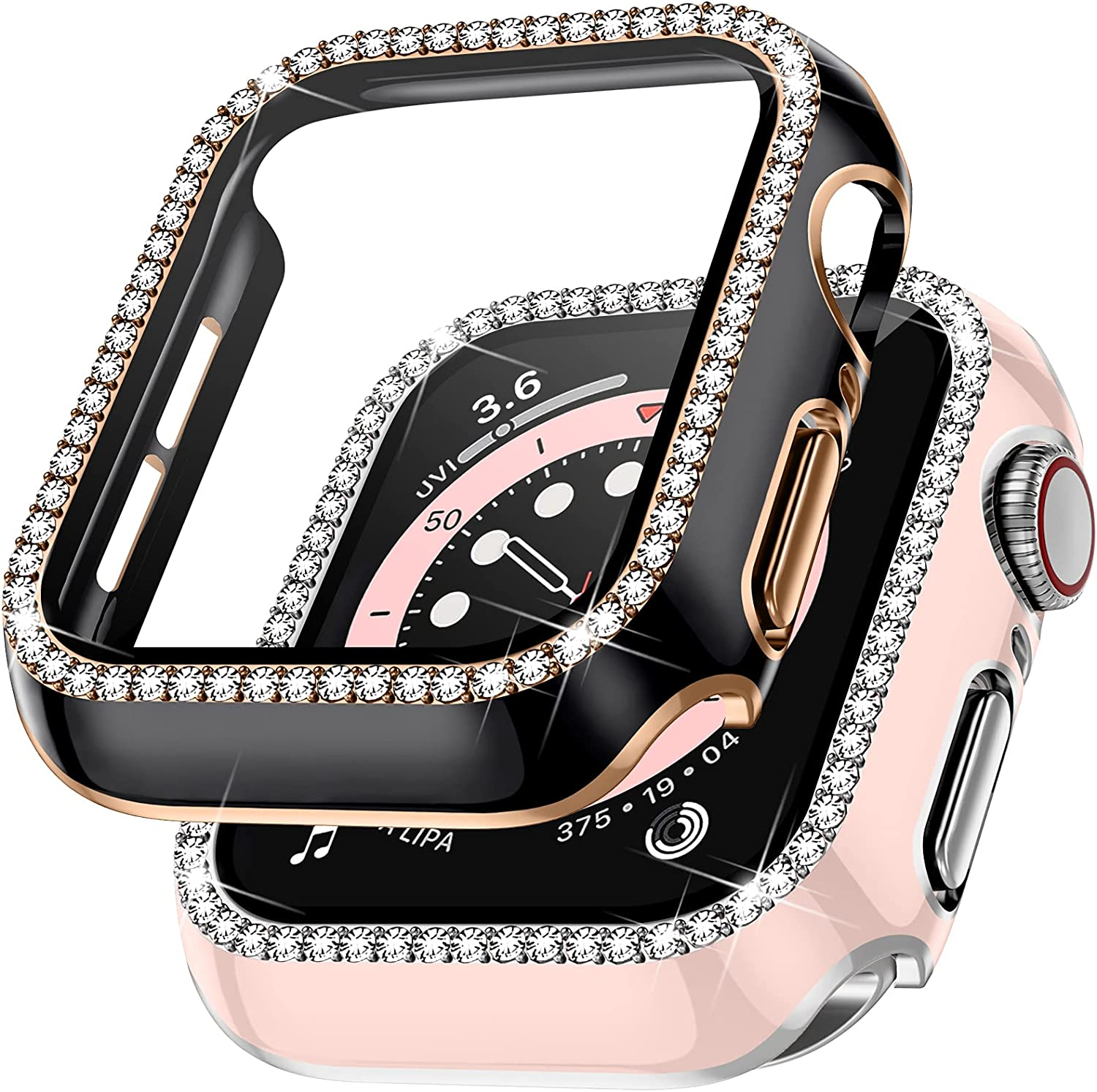Charlam Compatible with Apple Watch Case 40mm SE iWatch Series 6/5/4, 2 Pack Full Coverage Bumper Bling Diamond Crystal Rhinestone Hard PC Protective Case Cover for Women Girls (Black/Pink 40mm)