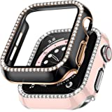 Charlam Compatible with Apple Watch Case 40mm SE iWatch Series 6/5/4, 2 Pack Full Coverage Bumper Bling Diamond Crystal Rhine