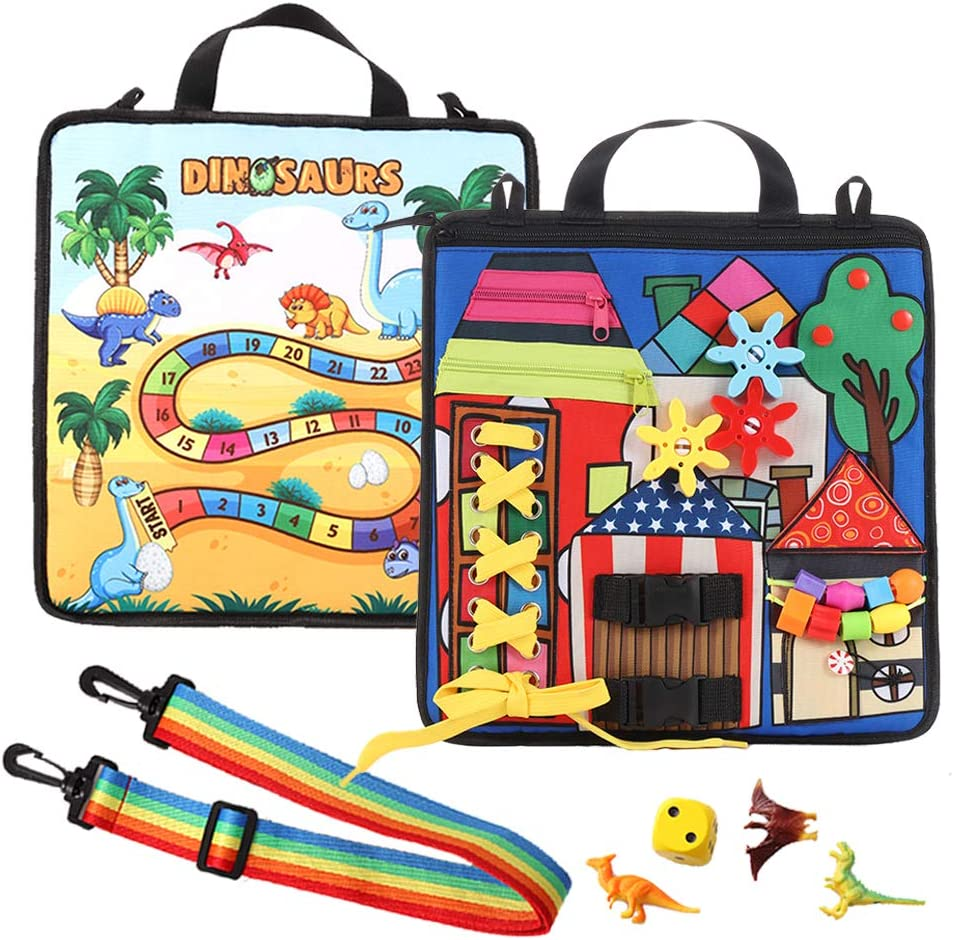 Dinosaur Game in The Back Toddler Busy Activity Board Montessori Toys for 1 2 3 4-Year-Old Baby to Learn Buckle Zipper and Fine Motor Skills Educational Cloth Bag Suit for Airplane or Car Travel