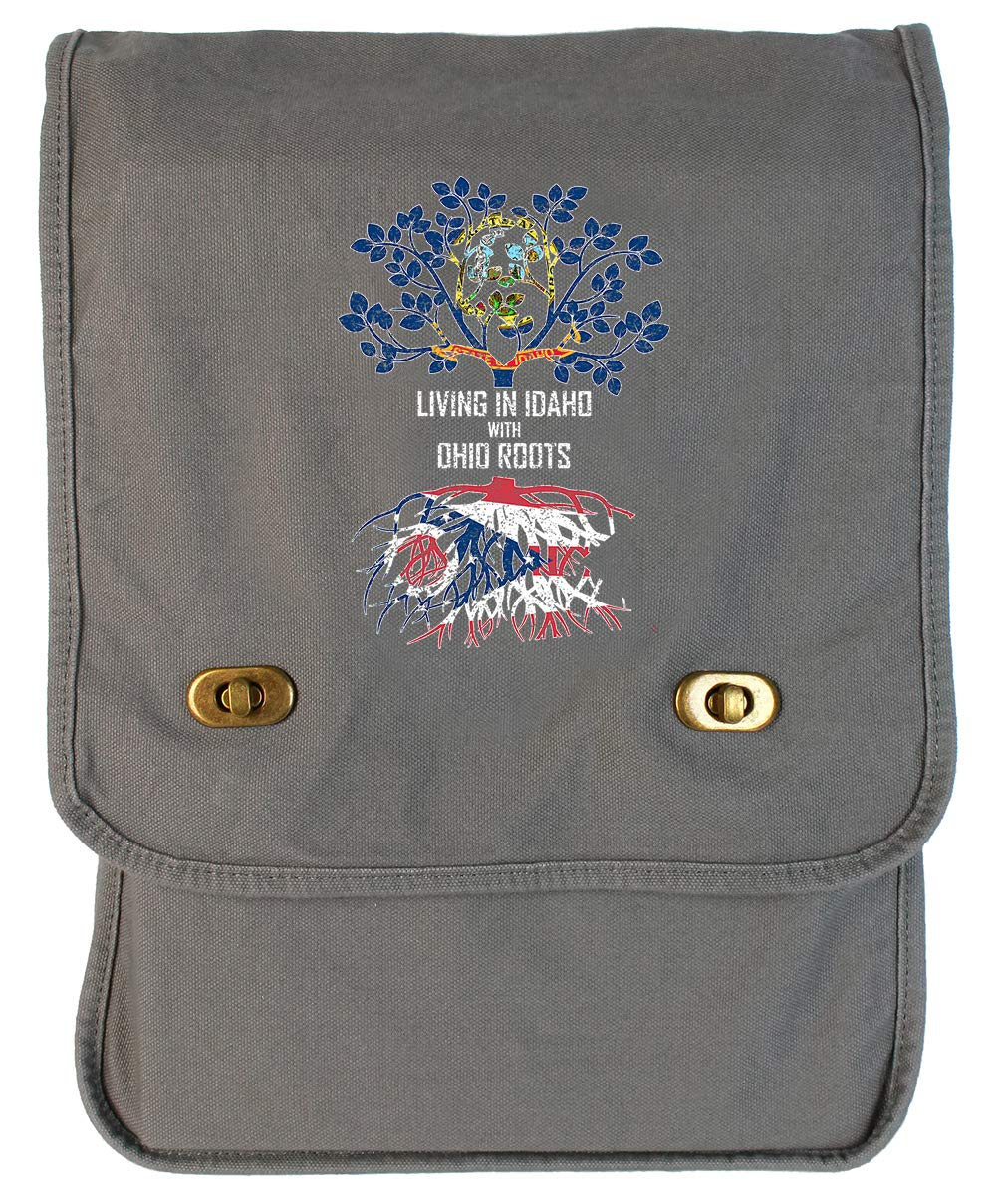 Tenacitee Living In Idaho with Ohio Roots Grey Brushed Canvas Messenger Bag