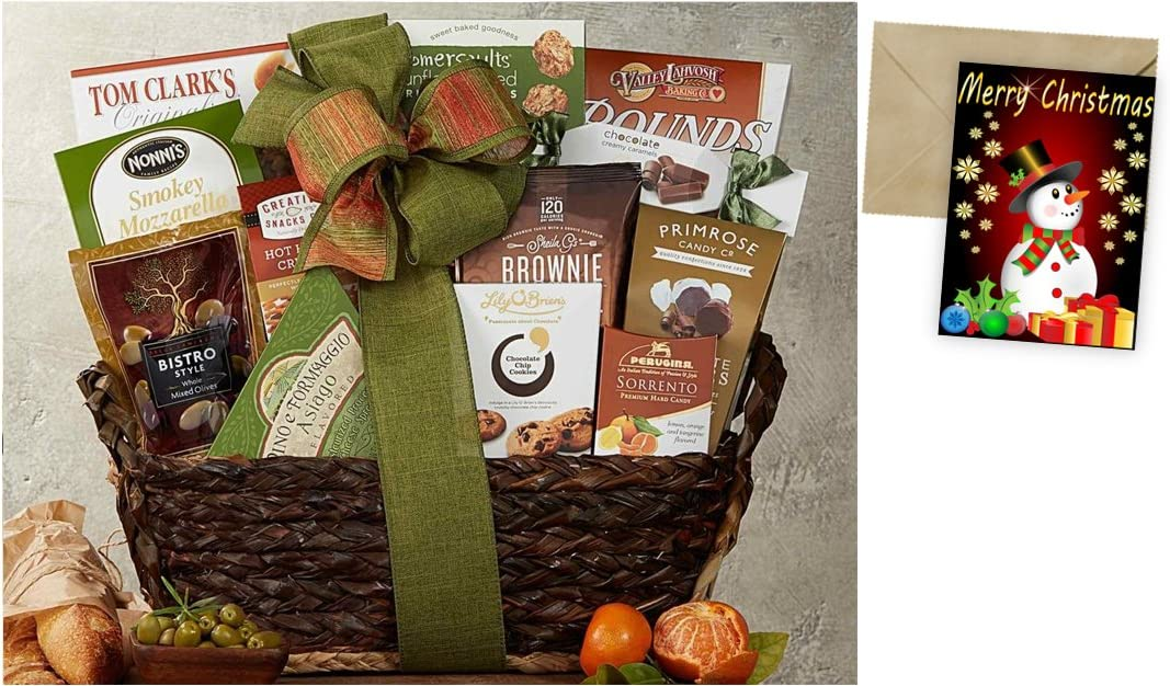 CD3242869 Gourmet Choice Gift Basket for Christmas and personalized card mailed seperately
