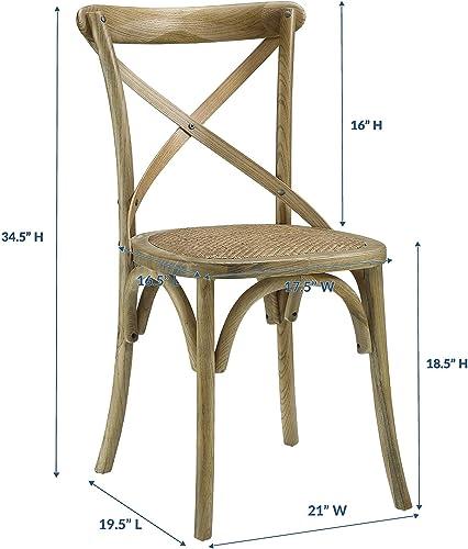 Modway Gear Rustic Modern Farmhouse Elm Wood Rattan Dining Chair