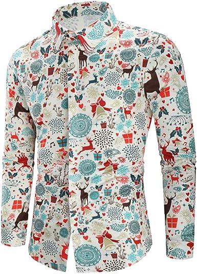 MEIbax Explosión Primavera Otoño Navidad Impresión Ocio Slim Fit Camisa Manga Larga Hombre Solapa Camisetas Tops Delgada Abrigo Divertidas Hombre Blusa Cárdigans Jersey Delgada Abrigo Ropa: Amazon.es: Ropa y accesorios