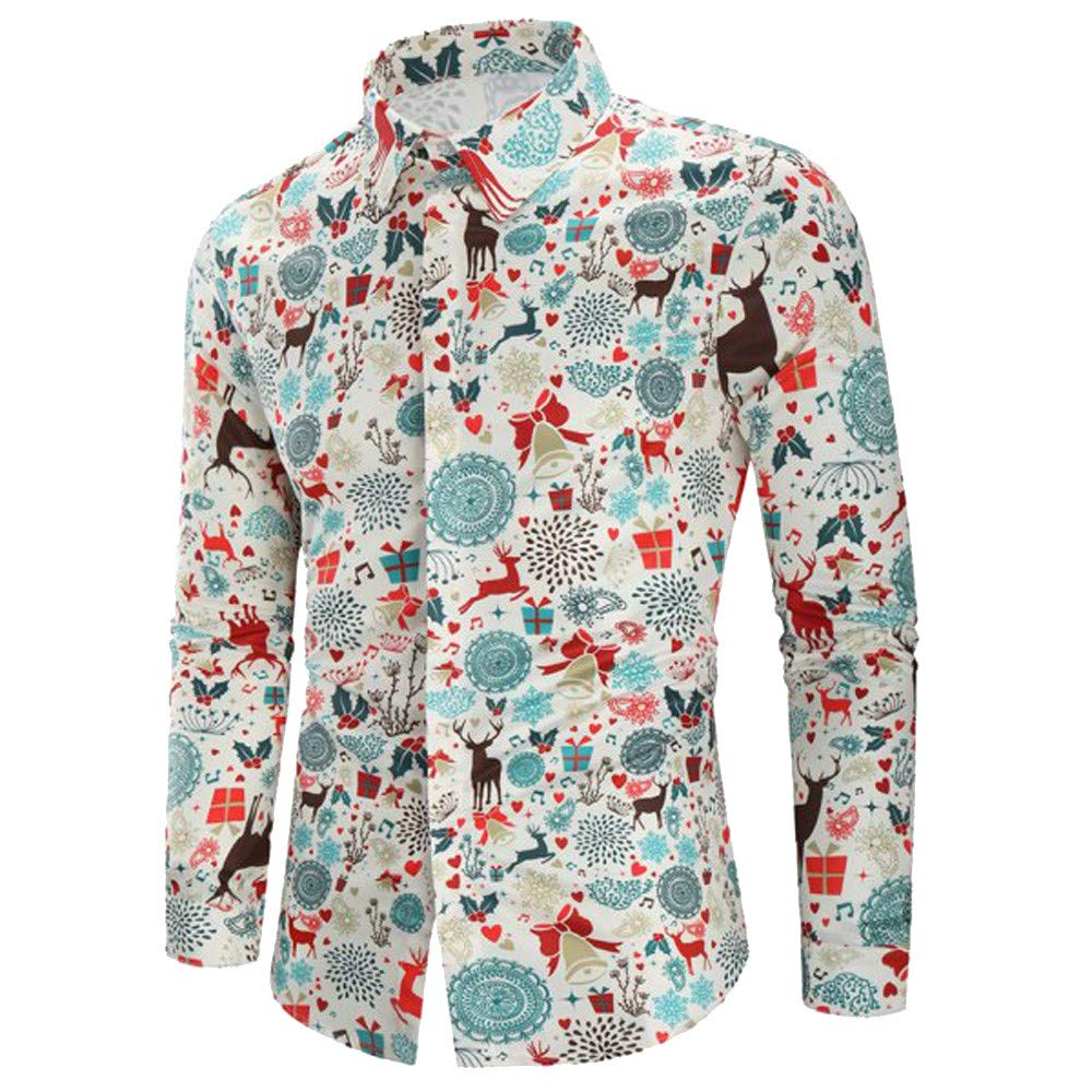 2019 Men's Vintage Christmas Button Down Shirts Reindeer Printed Dress Shirts Long Sleeve Sweatshirts Tops