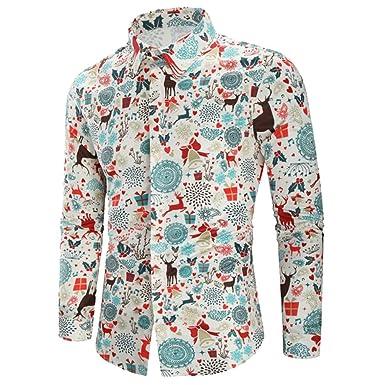 Camisa navideña de Hombre Amlaiworld Camisas para Navidad Carnaval para Hombres Camisa Delgada de Manga Larga Tops Blusas Vestir Otoño Invierno: Amazon.es: ...