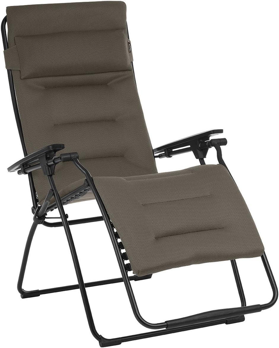 Lafuma Futura XL Air Comfort Zero Gravity Recliner Bordeaux Red Extra Large Padded Folding Outdoor Reclining Chair