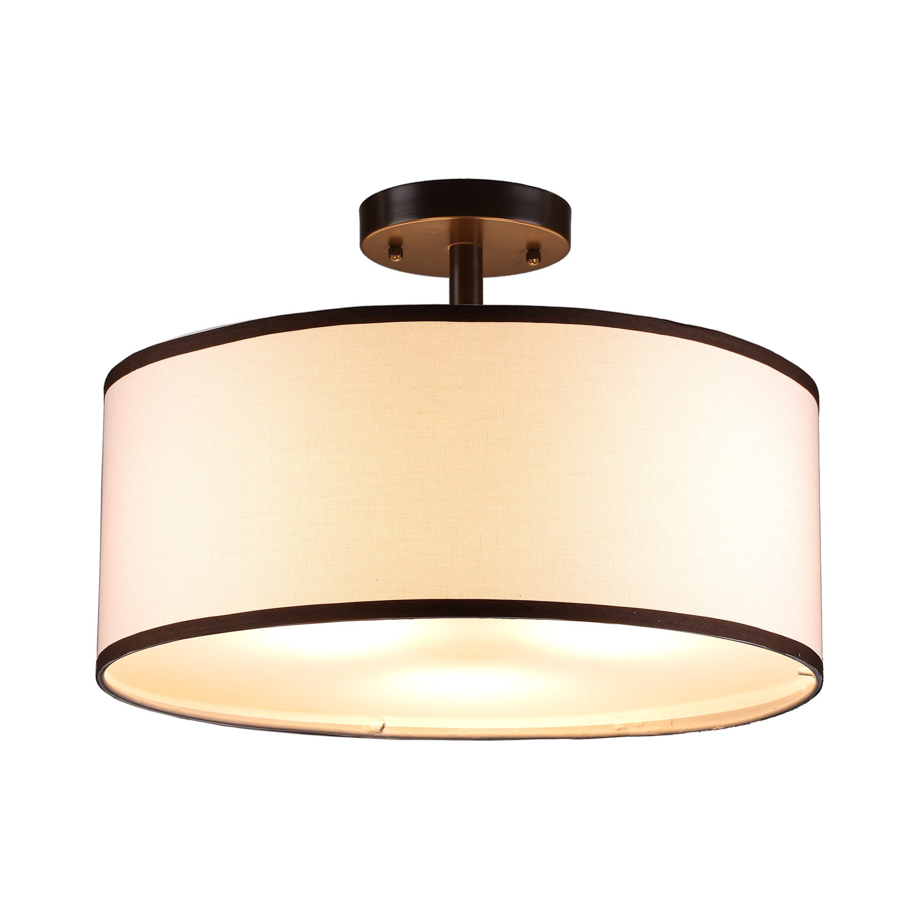 CO-Z Drum Light, Bronze Finished 3 Light Drum Chandelier, Semi-Flush Mount Contemporary Ceiling Lighting Fixture with Diffused Shade for Kitchen, Hallway, Dining Room Table