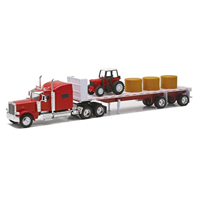 Newray Peterbilt 389 with Hay and Farm Tractor Playset 1/32 Scale Model Toy Vehicles: New Ray: Toys & Games