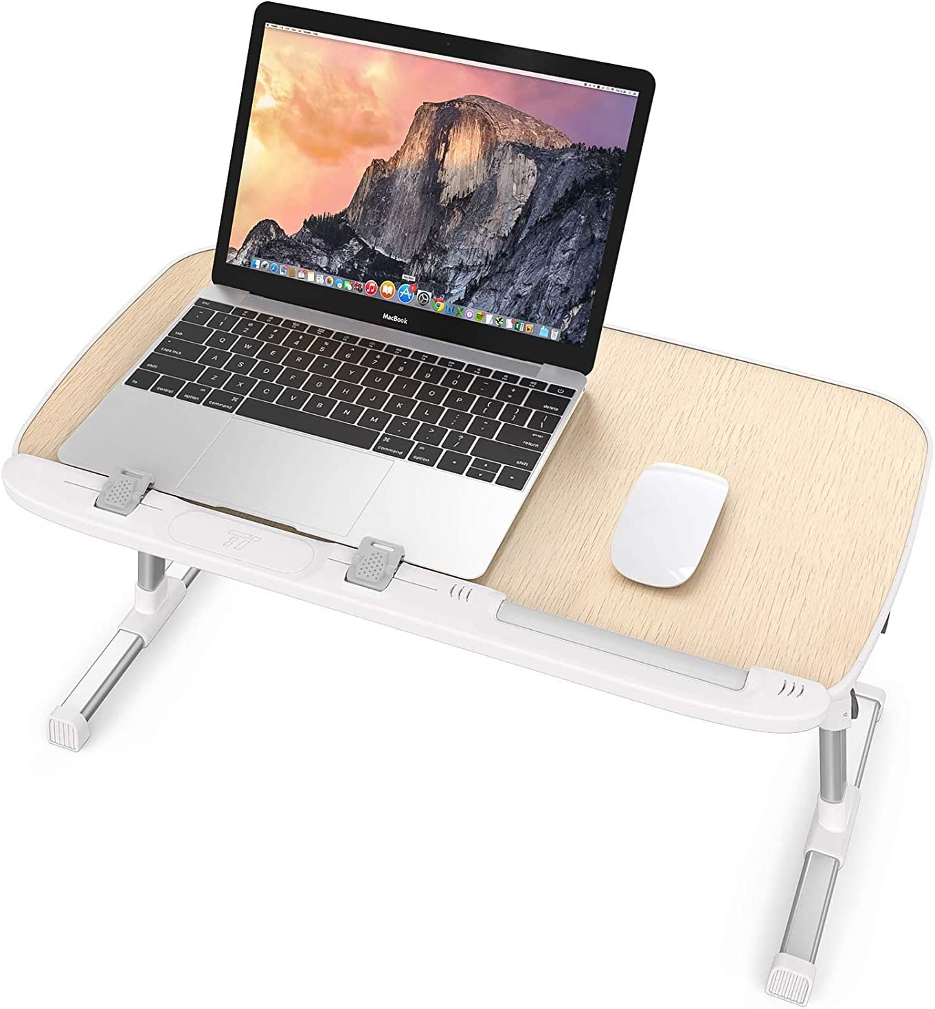 TaoTronics Foldable Laptop Table Stand, Height Adjustable Laptop Desk for Bed and Sofa, Portable Lap Desk, Bed Tray Table, Office Standing Desk Riser (Renewed)