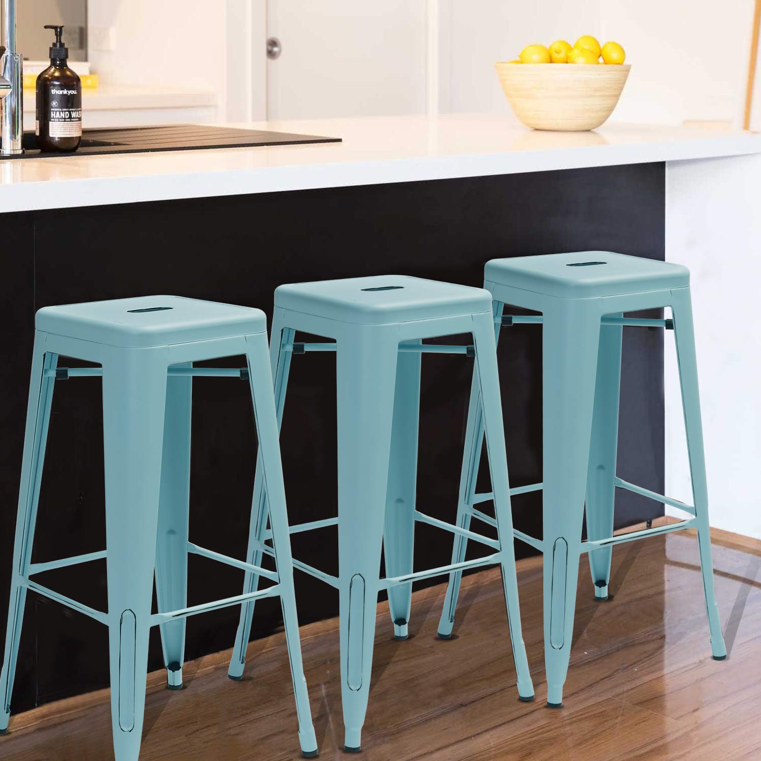 Black Set of 4 Waleaf 24 inches Metal Stools Indoor//Outdoor Counter Height Stackable Bar Stool Modern Style Restaurant Cafe Chic Bistro Side Stool
