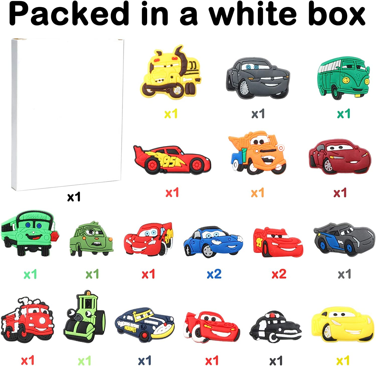 CY2SIDE 20PCS Race Car Shoe Charm for Crocs Cartoon Bracelet Wristband Charms for Kids B-day Gift Treasure Toy for Party Racing Car Shoe Decoration Charm for Kids Clogs Clog Decor for Boys Slip-On