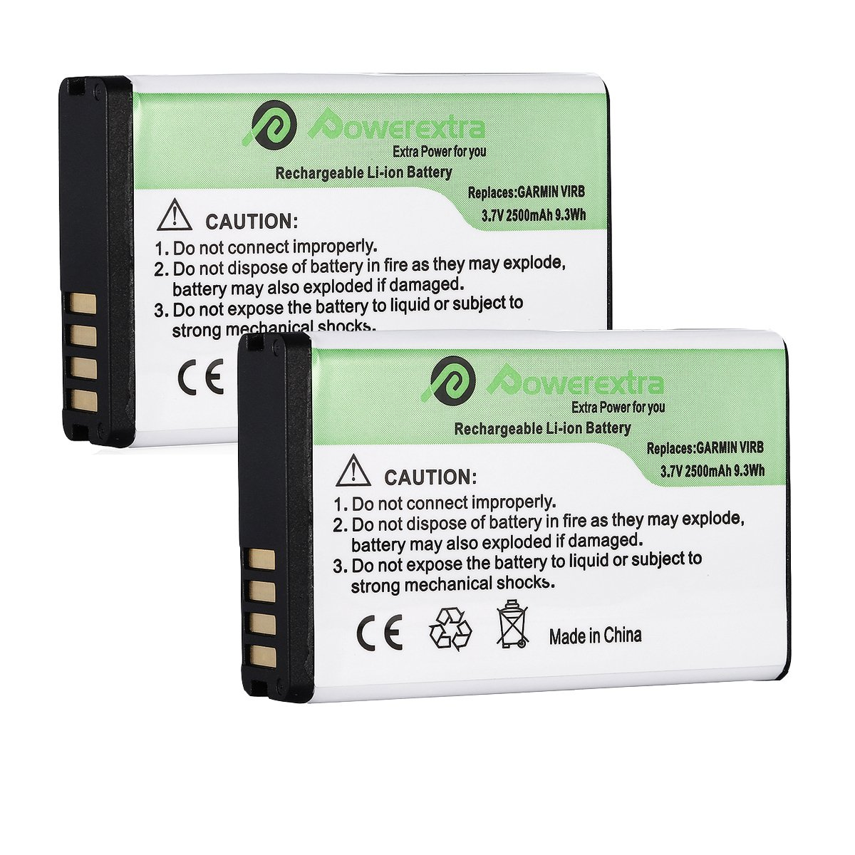 Powerextra 3.7V 2500mAh 2 Pack Replacement Battery for Garmin HD Action Camera 010-11654-03, Alpha, Montana 600, 600 CAMO, 600T, 650, 650T, Monterra, P11P15-04-N02, Virb, Virb Elite
