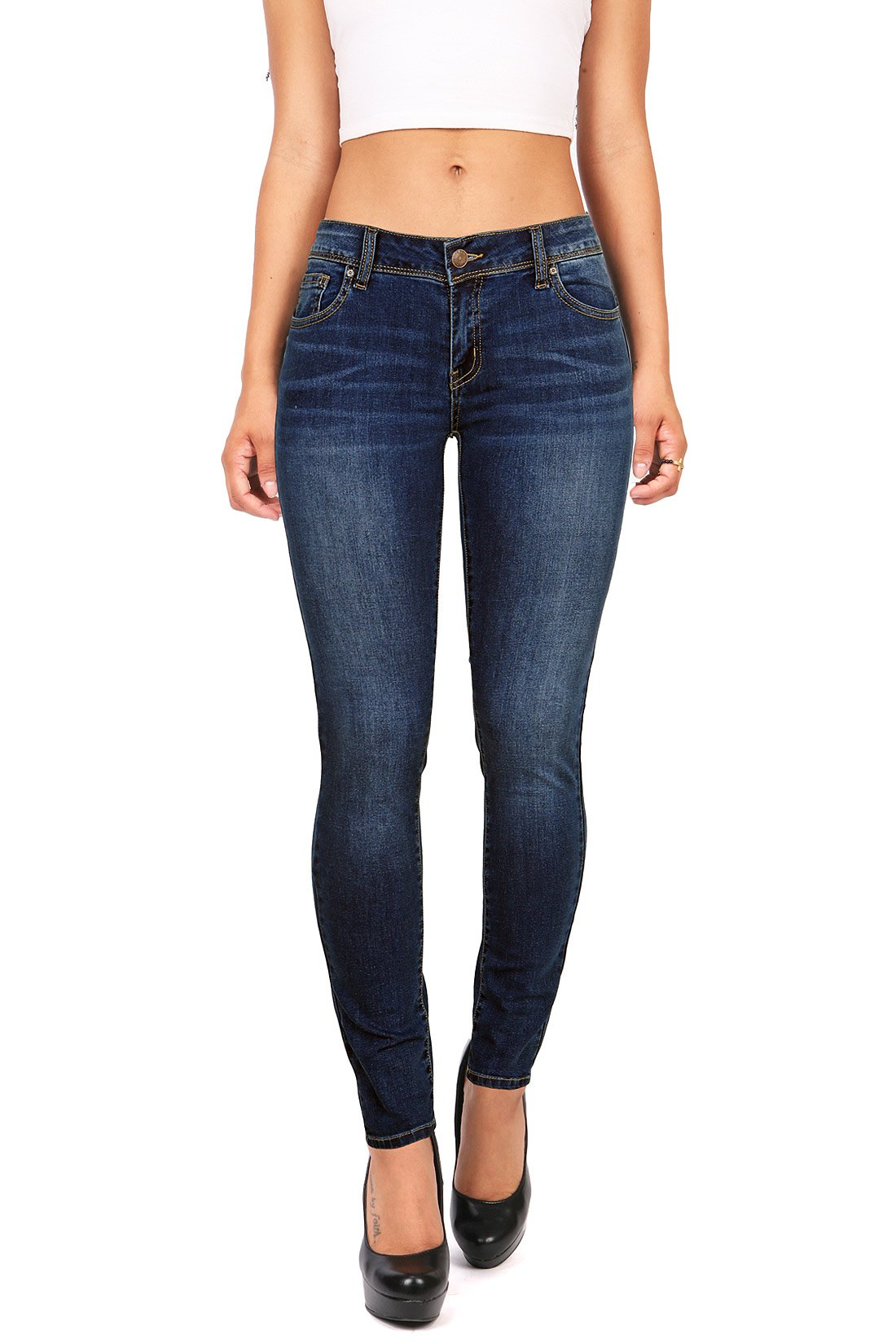 Wax Denim Women's Juniors Basic Stretchy Fit Skinny Jeans (14, Dark Denim)
