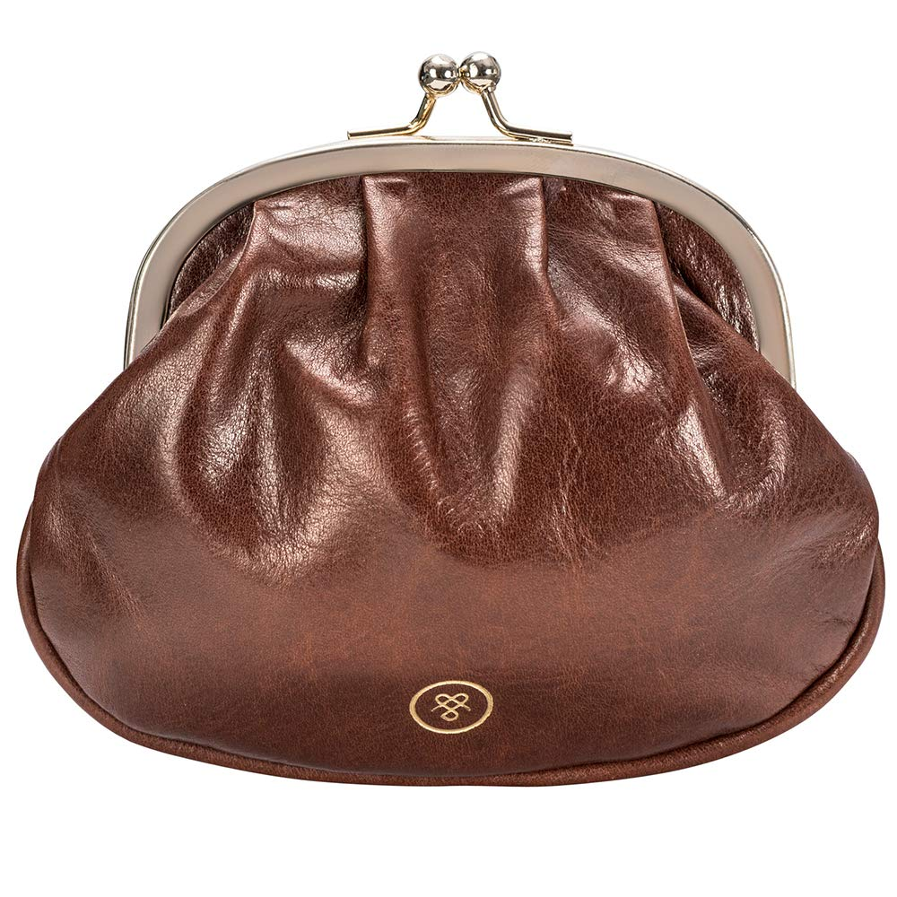 Maxwell Scott Women's Italian Leather Ball Clasp Purse - Sabina Tan