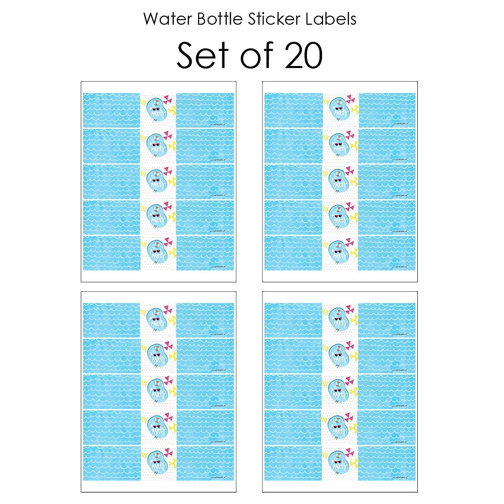 Make A Splash Summer Swimming Party or Birthday Party Water Bottle Sticker Labels Set of 20 Pool Party