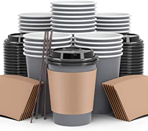To Go Coffee Cups 120 Pack, Paper Coffee Cups With Lids Straws and Sleeves, Disposable Hot Beverage 12Oz Paper Coffee Cup