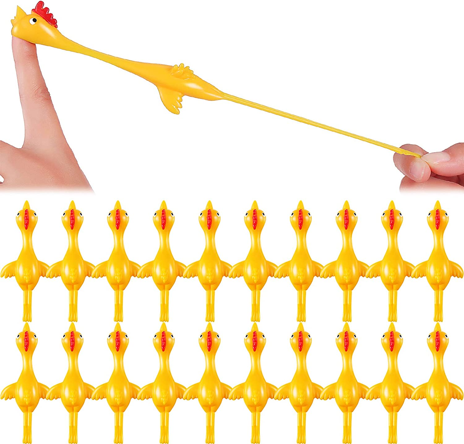 Sumind 30 Pack Slingshot Chicken Rubber Chicken Flick Chicken Flying Chicken Flingers Stretchy Funny Christmas ,Easter Chicks Party Activity for Children (30 Pack Yellow)
