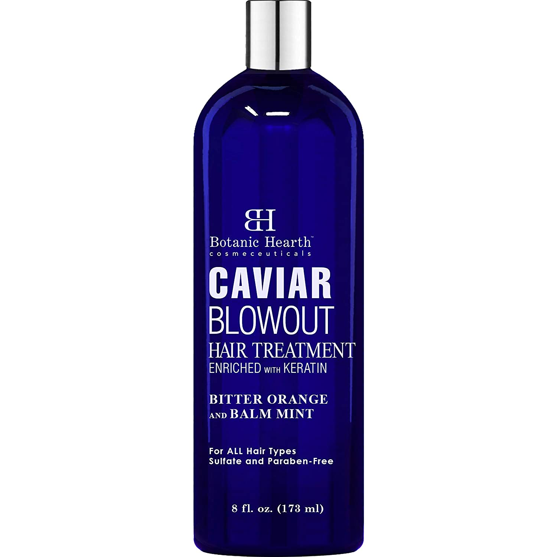 BOTANIC HEARTH Caviar Corrective Blowout Hair Treatment - Keratin Enriched Heat Activated Anti Frizz Smoothing Formula - 8 fl oz