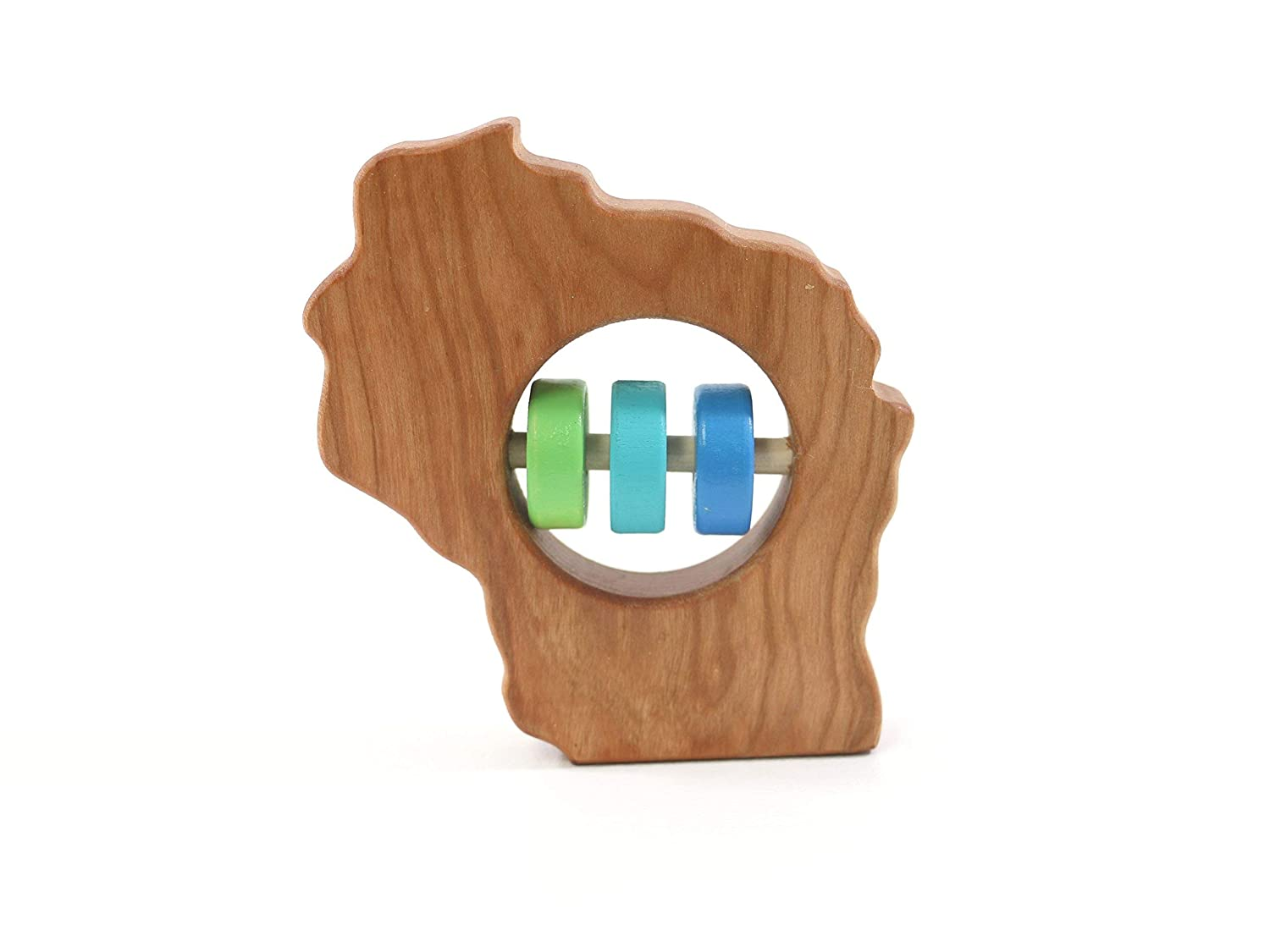 Wisconsin State Wooden Baby Rattle ™