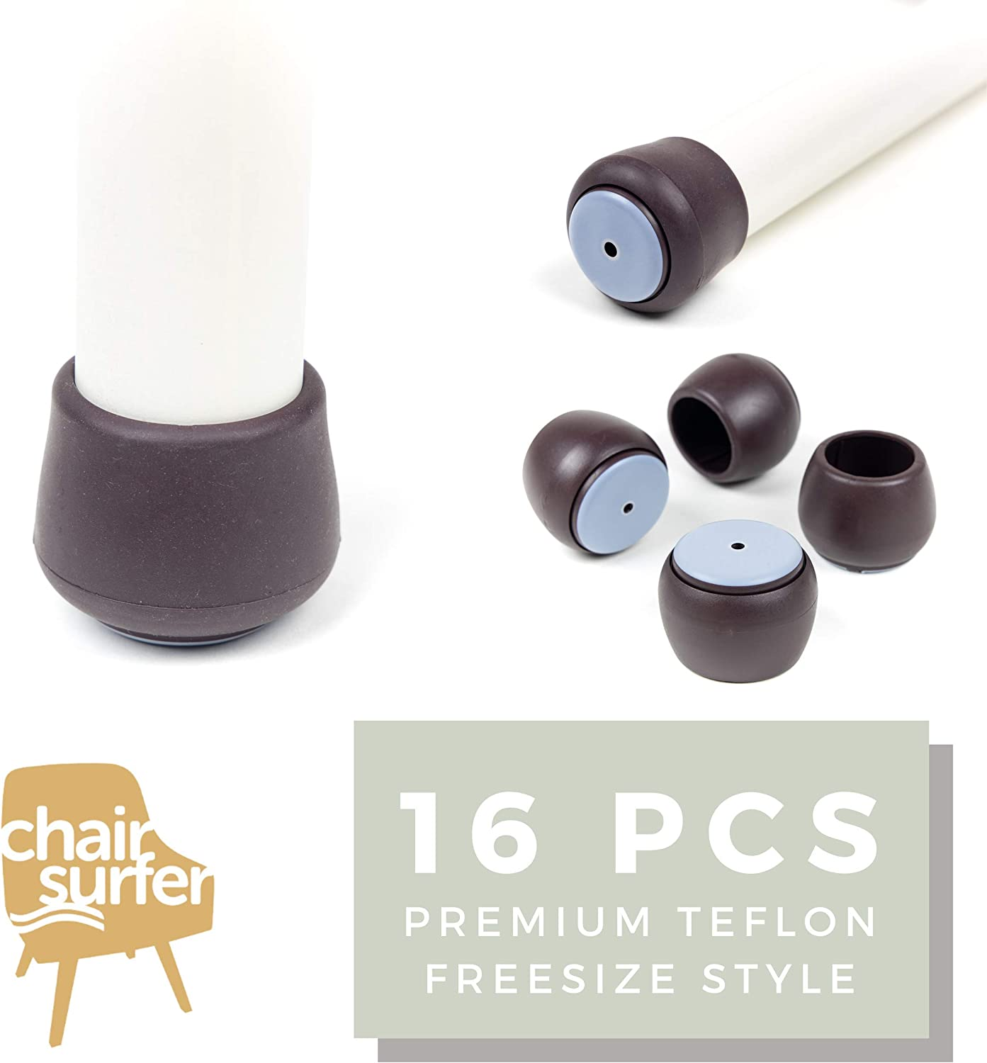 Chair Leg Caps Floor Protectors - (Freesize/16 Piece Set) Extra Glide Sliders | Premium Teflon Elastic Caps for Easy Hardwood Floor Protection, No Noise, No Dust, Stronger Grip (21-24mm) Extra Small