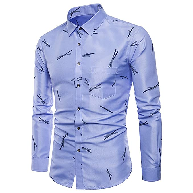 Camicia Uomo LandFox Slim Fit Camicia a Bottone Manica Lunga
