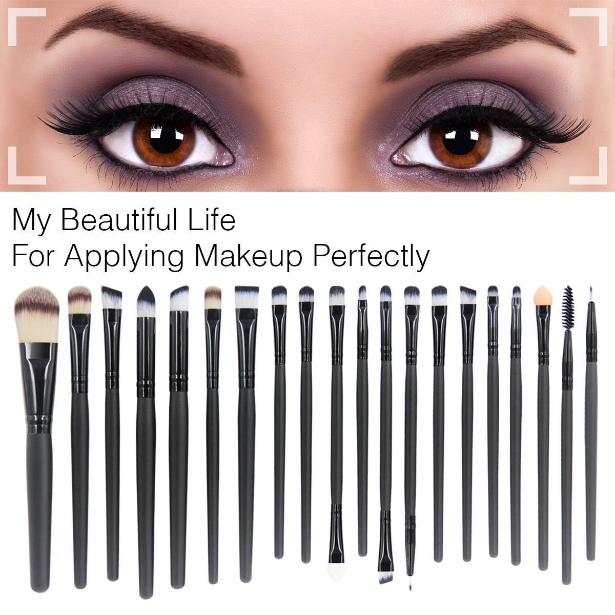 Qj 20 Pieces Makeup Brush Set Professional Face Eye Ql Cosmetic Eyebrow Cream 15 Gr Shadow Eyeliner Foundation Blush Lip Brushes Powder Liquid Cosmetics Blending