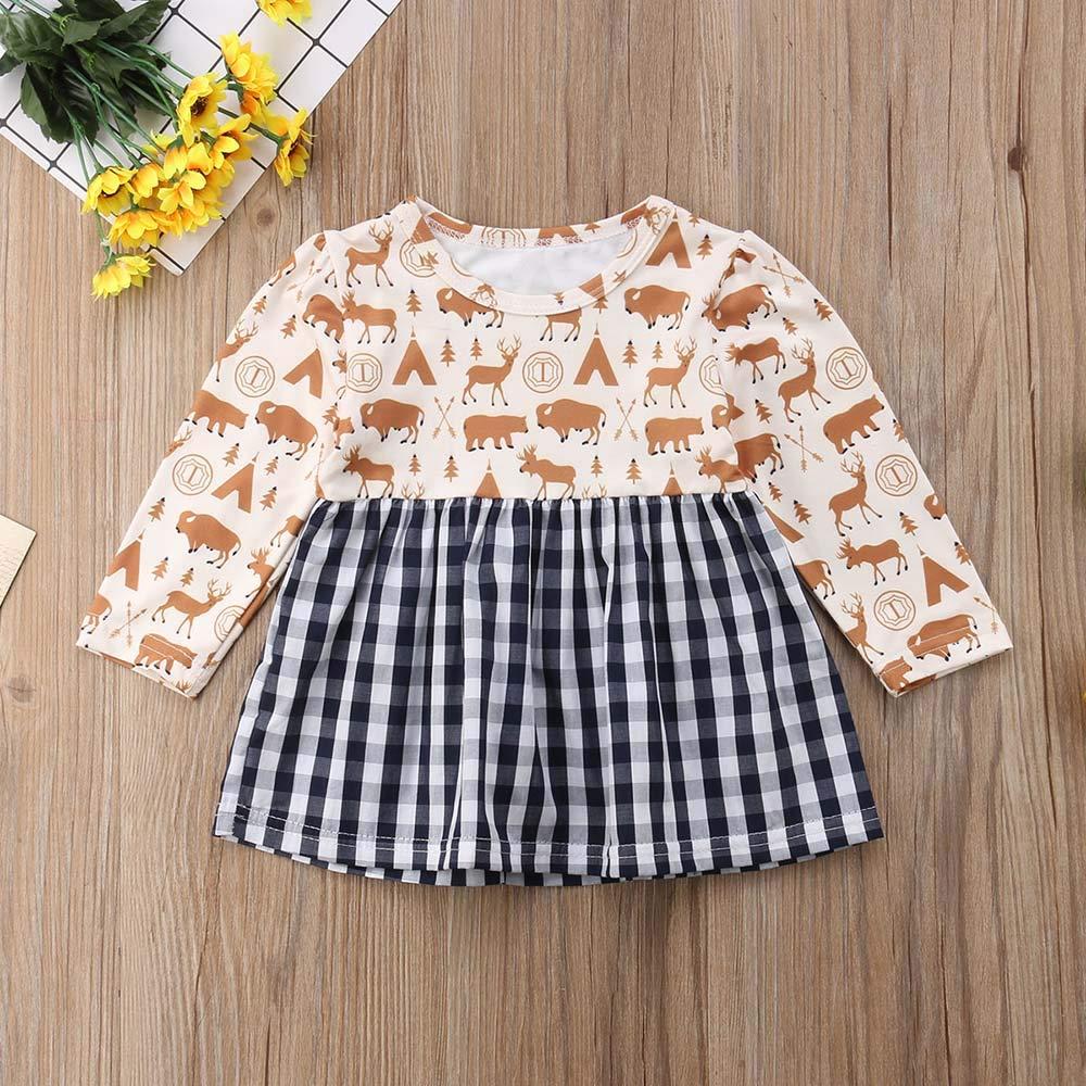 Toddler Infant Baby Girls Dress Animal Print Long Sleeve Plaid Skirt Casual Playwear Dress