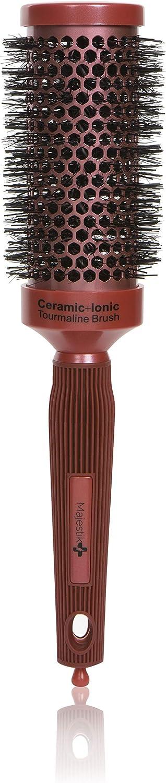 Cepillo redondo: secado rápido con cerdas de jabalí natural, cepillo redondo profesional con tecnología nano, cerámica + iónica para rizar el cabello, peinar y alisar (44 mm)