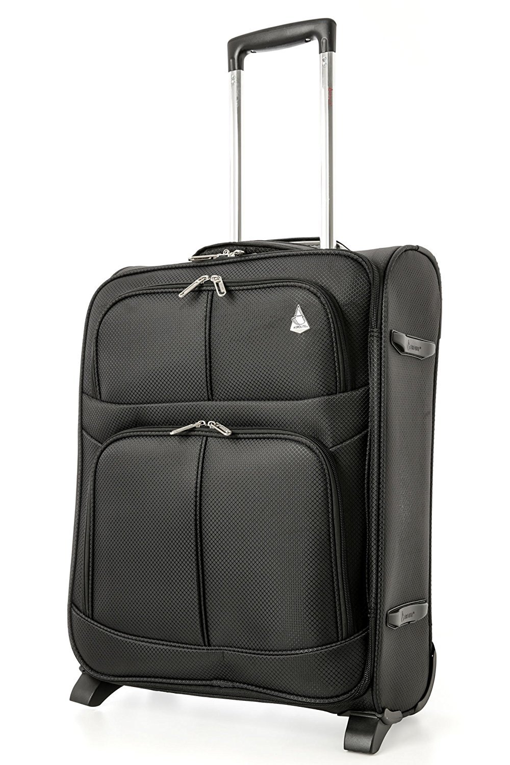 Aerolite 55x40x20cm 42L 2 Wheel Lightweight Ryanair Maximum Size Carry On Hand Cabin Luggage Suitcase, Expandable to 55x40x23cm 48L for Lufthansa, Norwegian, Eurowings, Wizz Air & More! Black
