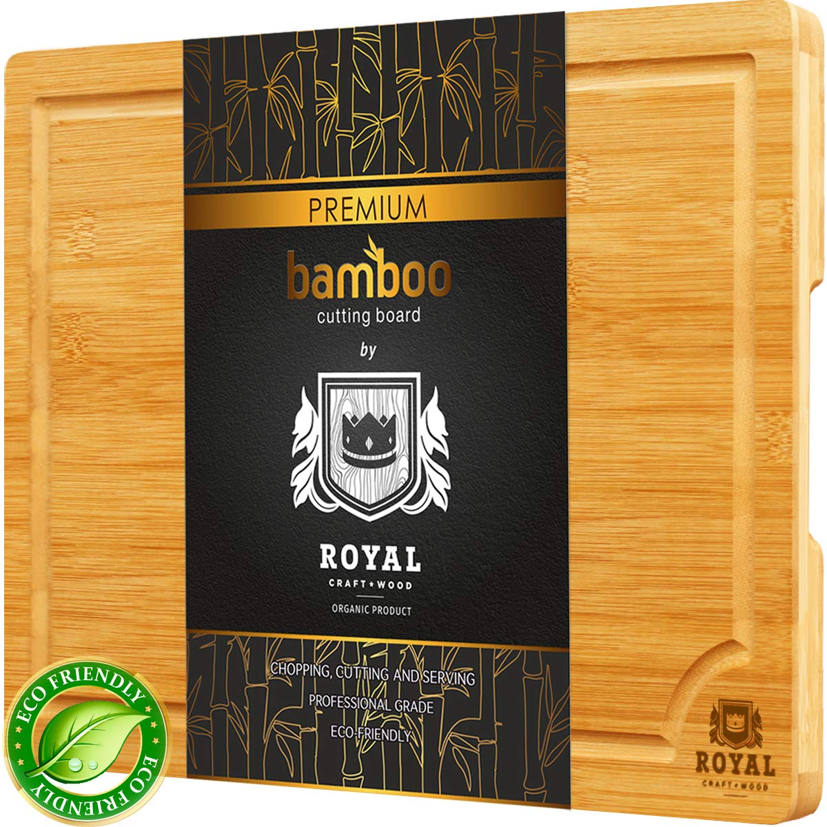 Bamboo Cutting Board w/Juice Groove & Handles - Butcher Block for Chopping Meat & Vegetables - Kitchen Cutting Boards, 10x15 by Royal Craft Wood