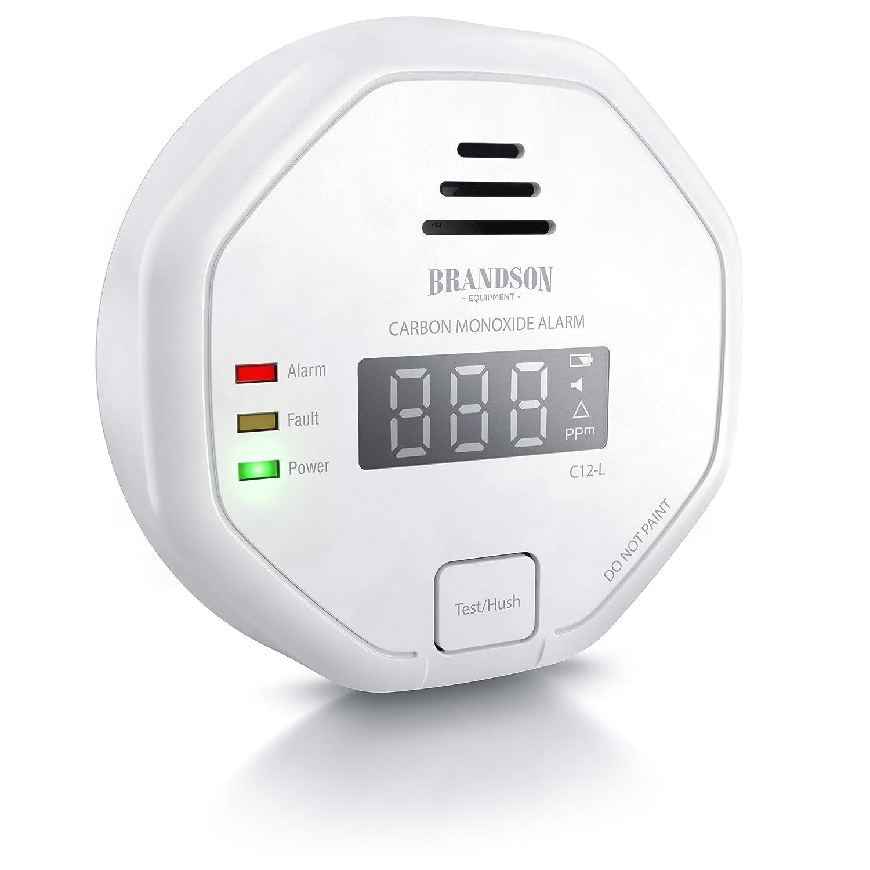 Brandson - Alarma de monoxido de carbono - Medidor inalámbrico de gas CO - Detector de pared – Pantalla LCD – Señal fuerte 85 dB – Botón de prueba - Alimentación pilas 2 x 1,5V AAA - Fácil de instalar