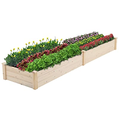 Patiomore 8 Feet Outdoor Wooden Garden Bed Planter Box Kit for Vegetables Fruits Herb Grow Yard Gardening, Natural: Industrial & Scientific