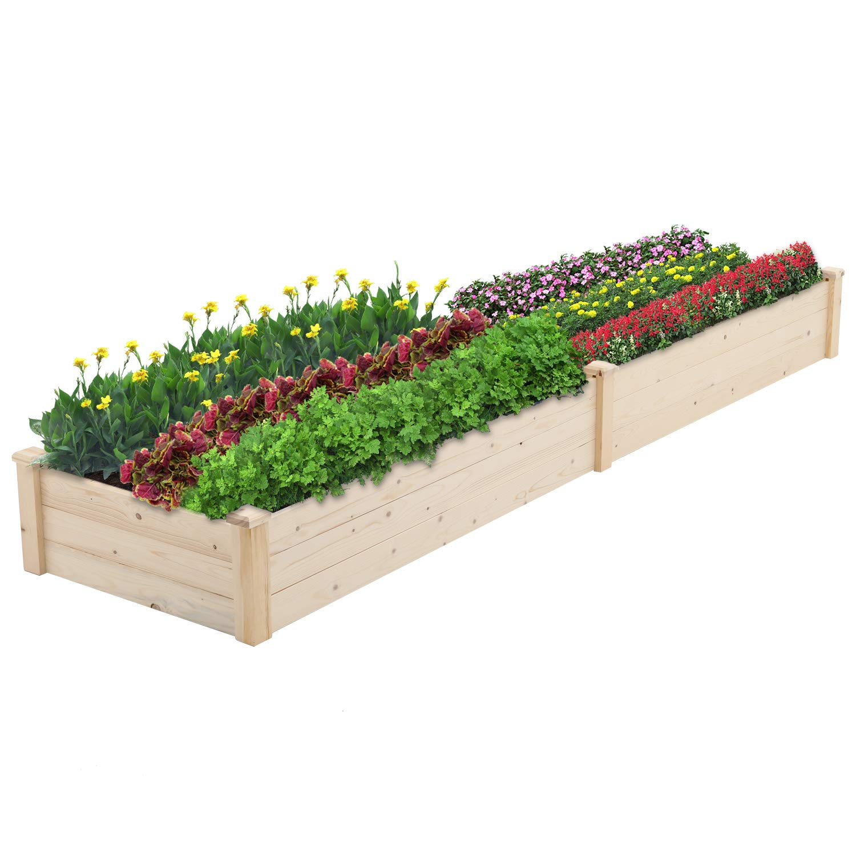 BonusAll Outdoor Garden Bed Planter Wooden Elevated Vegetable and Fruit Herb Growing for Patio Deck Balcony Outdoor Gardening, 8 Feet Natural