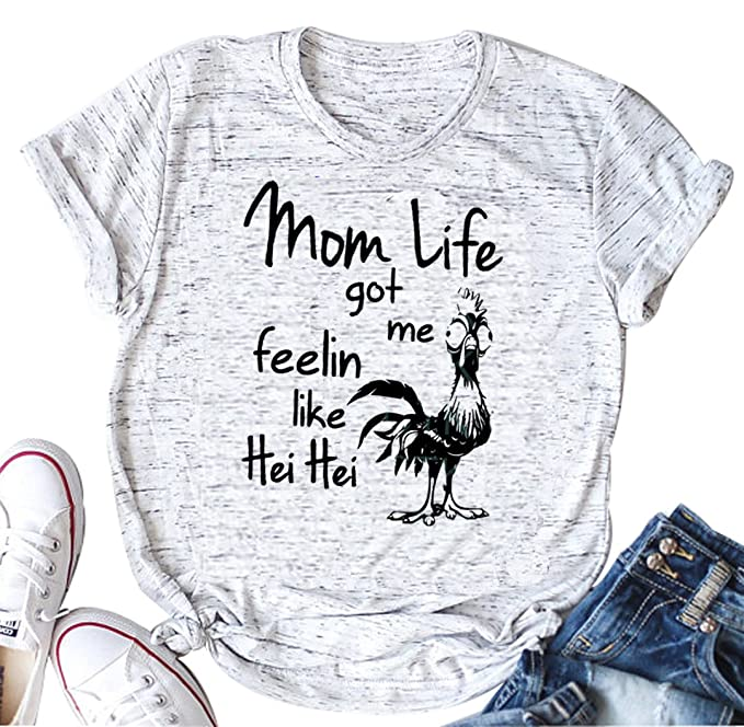 308ac50a LONBANSTR Mom Life Got Me Feelin Like HEI HEI Funny Saying T-Shirt Casual  Top