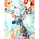 Amazon Price History for:DIY Oil Painting, Easy Paint By Numbers for Adults Beginner Kids Teens Children Boys Girls, Animals Canvas Christmas Gifts Color Rainbow Deer Giraffe Elk Reindeer Antlers Stag 16x20 Inches Frameless