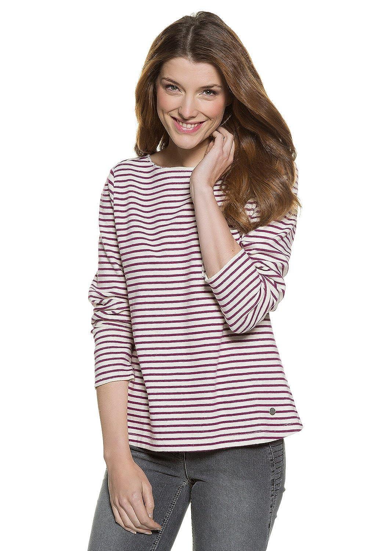 TALLA 48. GINA LAURA Sweatshirt | Streifen-Muster | Rundhalsausschnitt | Langarmr | Bequem Geschnitten | bis Größe XXXL, Sudadera para Mujer