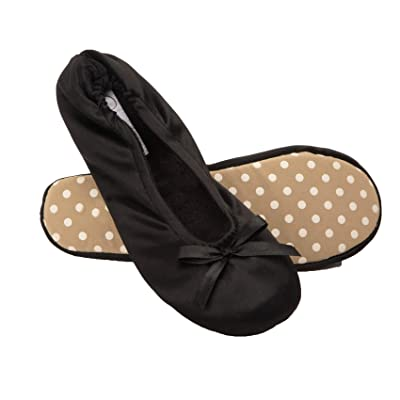 Jessica Simpson Womens Satin Ballerina Yoga Slipper with Bow | Slippers