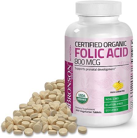 Bronson Organic Folic Acid (Vitamin B9 Folate) 800 mcg Natural Folate from Lemon Peel 360 Tablets