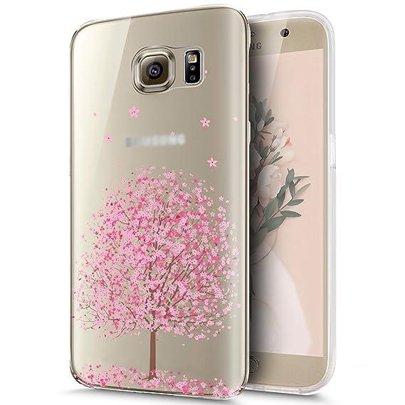 Kompatibel mit Galaxy S6 Edge Plus Hülle,Kirschblüte Blumen Cherry Blossom Muster Weich TPU Silikon Hülle Handyhülle Tasche D