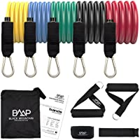 Black Mountain Products Resistance Band Set with Door Anchor, Ankle Strap, Exercise Chart, and Resistance Band Carrying…