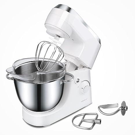 Aigostar Piccolo Mamma White 30HMA–Robot de cocina: batidora, amasadora, mezcladora. 350W, bol de acero inoxidable y 4,2 litros. Incluye 3 accesorios ...